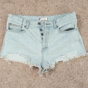 Free People Button Fly Cut Off Jean Shorts